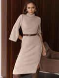 Платье приталенного силуэта с поясом бежевое 55665, фото 3