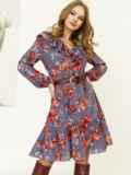 Синее платье с принтом и воланом по низу 52872, фото 2