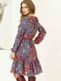 Синее платье с принтом и воланом по низу 52872, фото 3