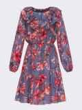 Синее платье с принтом и воланом по низу 52872, фото 4