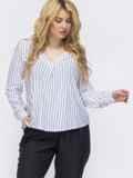 Белая полосатая рубашка свободного кроя батал 46083, фото 1