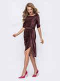 Бордовое платье из люрекса с юбкой-тюльпан 51924, фото 3