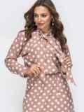 Пудровое платье в горох с воротником-аскот 45843, фото 4