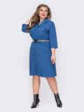 Синее платье-рубашка батал с накладными карманами 53228, фото 2