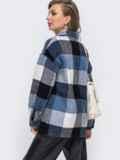 Тёплая рубашка в клетку с бахромой по полочке синяя 50651, фото 4