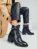 Ботинки из искусственной кожи на устойчивом каблуке чёрные 51212, фото 1
