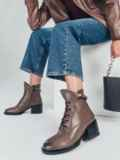 Ботинки из искусственной кожи на устойчивом каблуке коричневые 51213, фото 1