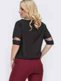 Чёрная блузка батал со вставками из фатина по груди 49899, фото 2