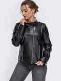 Чёрная косуха из эко-кожи с карманами на молнии 50638, фото 2