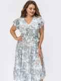Голубое платье батал с принтом и разрезом на ноге 54280, фото 1