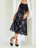 Черная юбка-миди из шифона с цветочным принтом 54420, фото 2