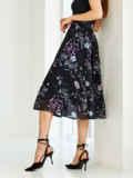 Черная юбка-миди из шифона с цветочным принтом 54420, фото 3