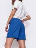 Льнянные шорты синего цвета с резинкой по талии 48173, фото 2