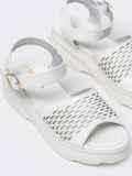 Белые босоножки с перфорацией на массивной подошве  49729, фото 2
