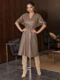 """Коричневое платье из искусственной кожи с рукавом """"летучая мышь"""" 50338, фото 2"""