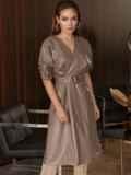 """Коричневое платье из искусственной кожи с рукавом """"летучая мышь"""" 50338, фото 3"""