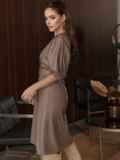 """Коричневое платье из искусственной кожи с рукавом """"летучая мышь"""" 50338, фото 4"""