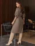 """Коричневое платье из искусственной кожи с рукавом """"летучая мышь"""" 50338, фото 5"""