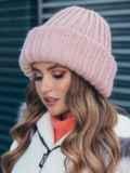 Двойная шапка пудрового цвета 40523, фото 2