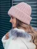 Двойная шапка пудрового цвета 40523, фото 3
