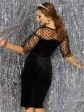 Платье-футляр из велюра с фатиновой кокеткой и рукавами чёрное 42752, фото 3
