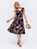 Платье с принтом и фигурным вырезом чёрное 48410, фото 2