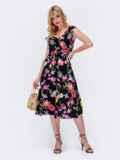 Платье с принтом и фигурным вырезом чёрное 48410, фото 3