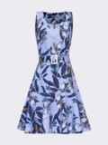 Платье приталенного силуэта с принтом и воланом по низу голубое 53703, фото 4