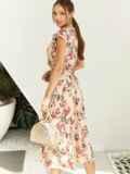 Платье с цветочным принтом и фигурным вырезом бежевое 54142, фото 4