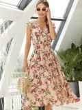 Платье с цветочным принтом и фигурным вырезом бежевое 54142, фото 5