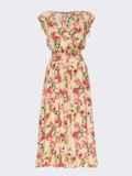 Платье с цветочным принтом и фигурным вырезом бежевое 54142, фото 6