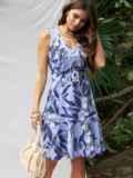 Приталенное платье с принтом и воланом по низу фиолетовое 53703, фото 1
