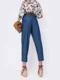 Укороченные брюки с завышенной талией синие 46711, фото 2