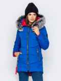 Зимняя куртка с удлиненной спинкой и капюшоном синяя 40912, фото 2