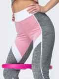 Лосины для фитнеса с контрастными вставками светло-серые 44630, фото 4
