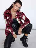Рубашка в клетку с накладными карманами бордовая 53465, фото 1