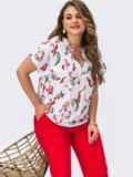 Красный брючный костюм батал с белой блузкой с принтом 54392, фото 1