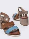 Коричневые босоножки на каблуке с застёжкой  49758, фото 2