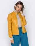 Желтая куртка прямого кроя из эко-кожи 40995, фото 2