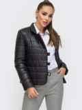 Укороченная куртка чёрного цвета на кнопках 50645, фото 2