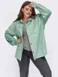 Замшевая рубашка батал мятного цвета 55510, фото 1
