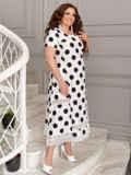 Белое платье батал в черный горох 49192, фото 2