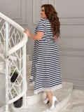 Платье батал в темно-синюю полоску 49191, фото 3