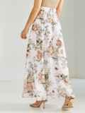 Шифоновая юбка-макси с цветочным принтом белая 53875, фото 3