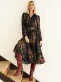 Черное платье с принтом и юбкой-полусолнце 53103, фото 2