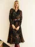 Черное платье с принтом и юбкой-полусолнце 53103, фото 4