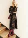 Черное платье с принтом и юбкой-полусолнце 53103, фото 6