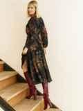 Черное платье с принтом и юбкой-полусолнце 53103, фото 7