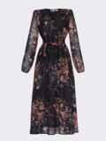 Черное платье с принтом и юбкой-полусолнце 53103, фото 8