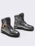 Зимние ботинки с лакированными вставками серые 51760, фото 2